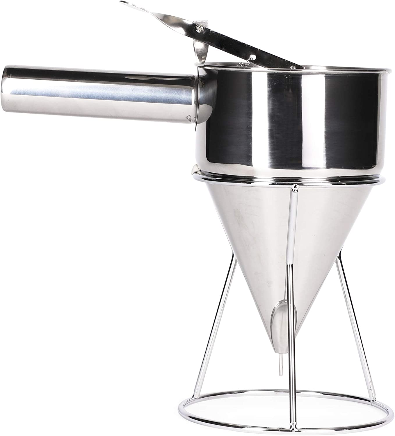 Juvale Professional Pancake Batter Dispenser (10 x 10 in, Stainless Steel, 4 Cups)