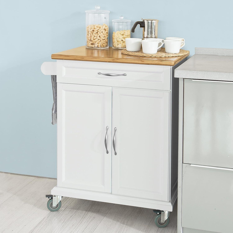 SoBuy® FKW13-WN Küchenwagen mit Bambustischplatte, Küchenschrank ...