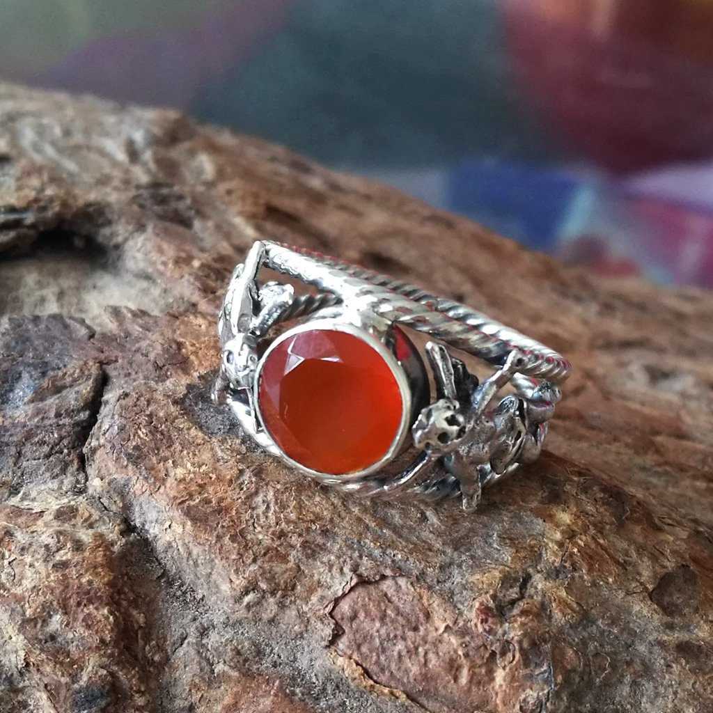 J851 CZgem Red Chalcedony Ring Size 7.75 Angel Gemstone 925 Sterling Silver Handmade