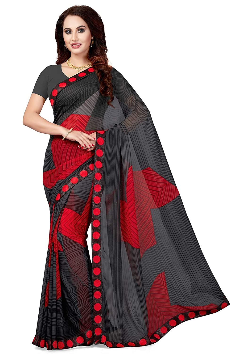 ffaef823046 Ishin Poly Georgette Black Printed Women s Saree Sari With Lace  Amazon.in   Clothing   Accessories