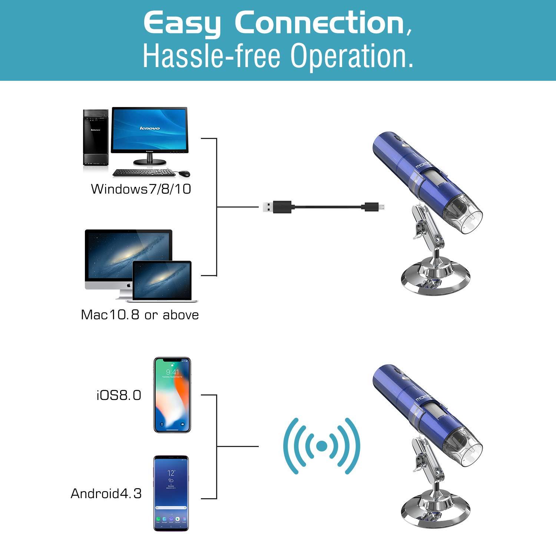 9c7e2500f78 Aumento de 50x a 1000x Mini Portatil Endoscopio Inalá mbrico con 8 LED MoKo  WiFi Digital Microscopio ...
