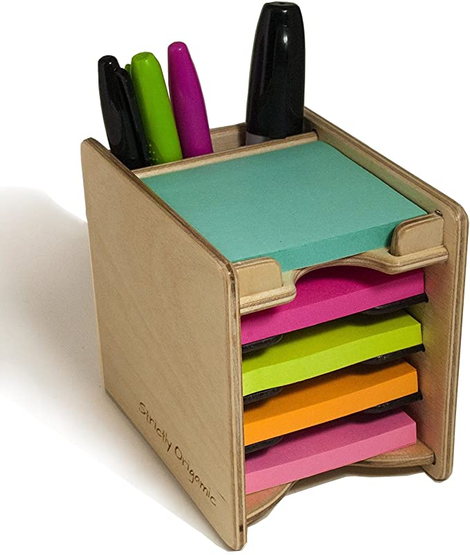 Chof Sticky Notes Holder Desktop Pen Pencil Storage Box Desk Organizer with Colorful Sticky Note and Index Tabs