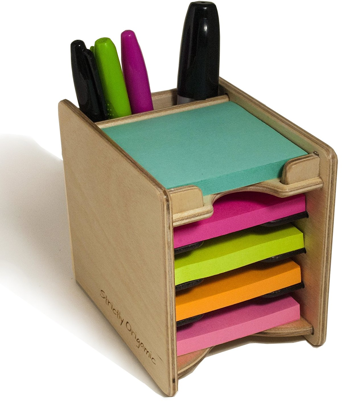 Strictly Origamic Colored Sticky Notes Pad and Pen Holder/Organizer (Includes Five 3'' x 3'' Pads) by Strictly Origamic