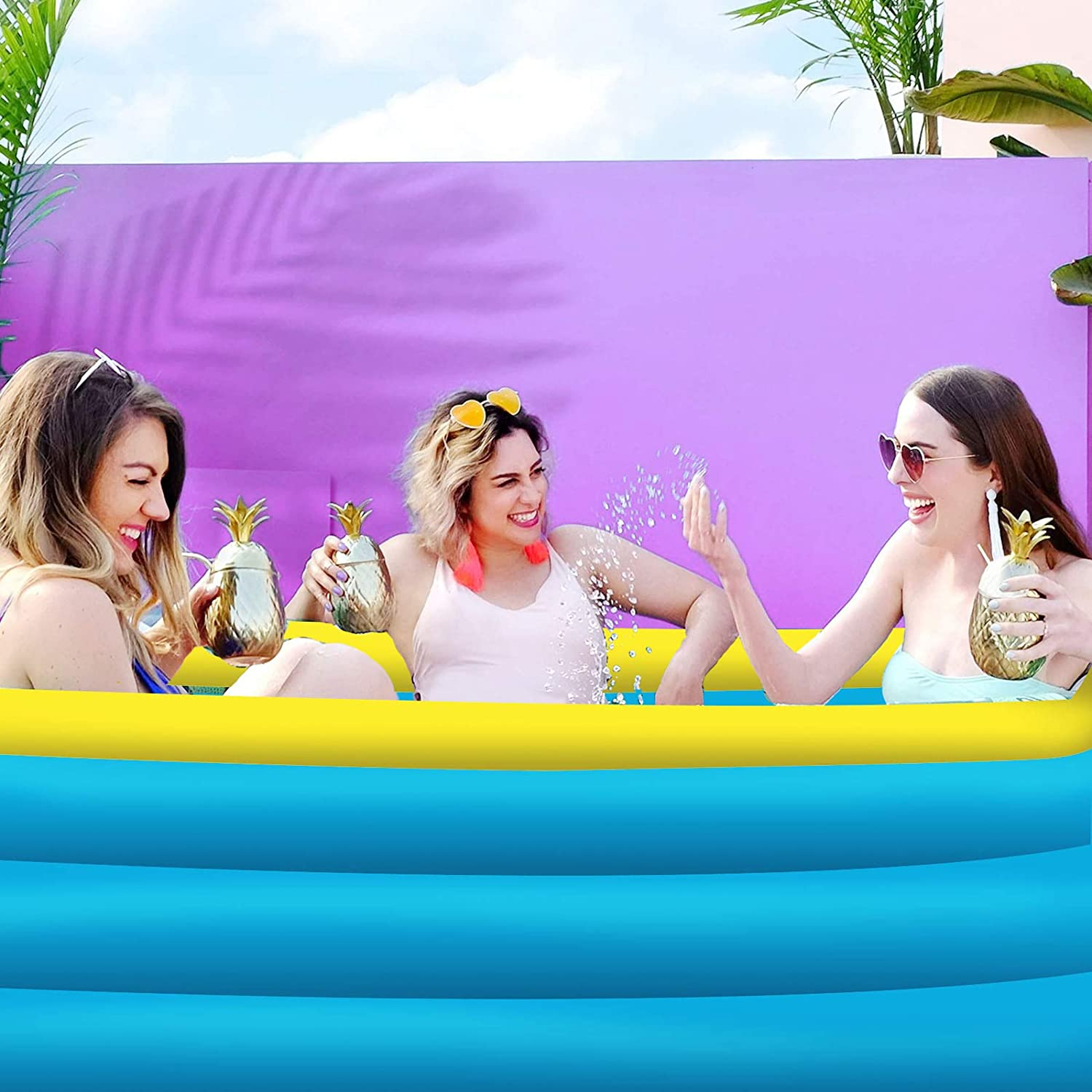 Kiddie Pools 119 x 72 x 22 Thickened Family Lounge Pool Backyard Water Party Family Swimming Pool for Garden TENNTOOSI Inflatable Swimming Pools