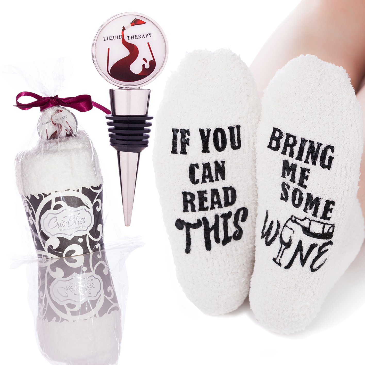 "Fluffy Novelty Wine Socks | Women Funny Socks - ""If You Can Read This Bring Me A Glass Of Wine"" 