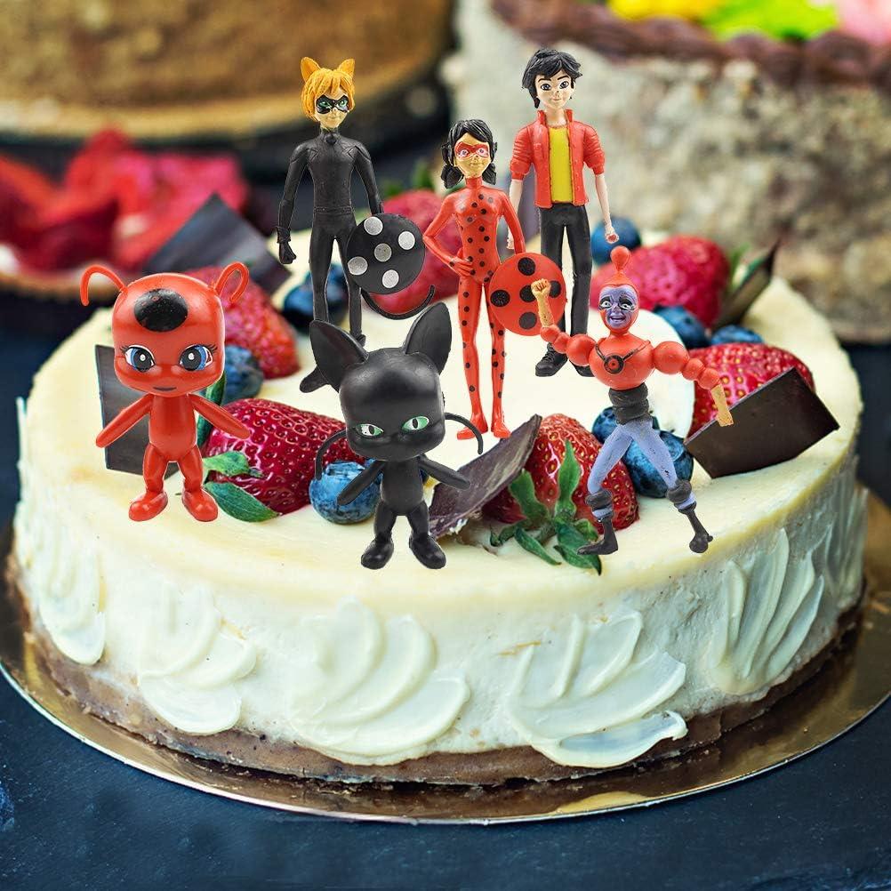 WENTS Miraculous Ladybug Figurines 6 Pi/èces Miraculous Ladybug G/âteau Topper Mini Figurine Enfants Mini Jouets et G/âteau De Douche F/ête danniversaire F/ête D/écoration Supplie Cake Toppers