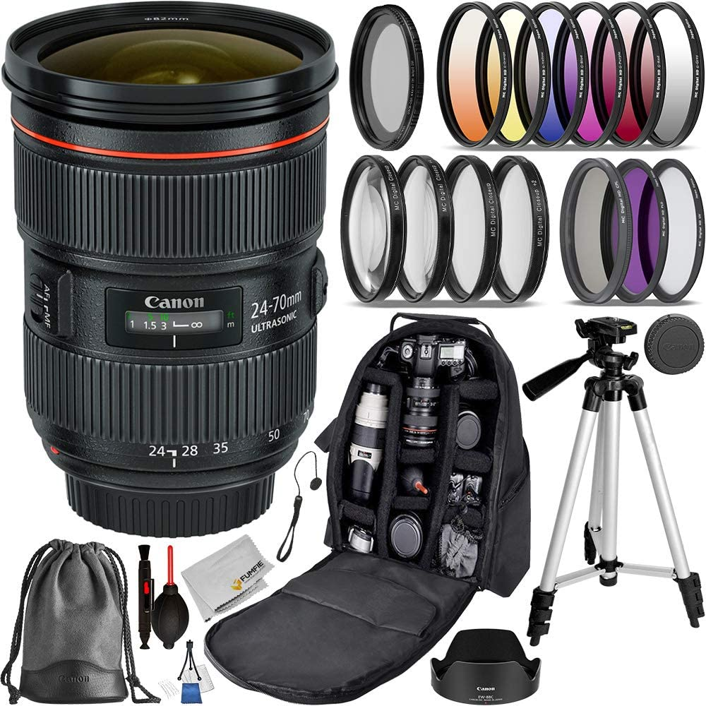 Canon EF 24-70mm f/2.8L II USM (#5175B002 USA) Advanced Bundle- Includes: 3pcs (UV, CPL, N-FLD) Filter Kit, 4pcs Close-up Fliter, 6pcs Graduated Color Filter Set and More