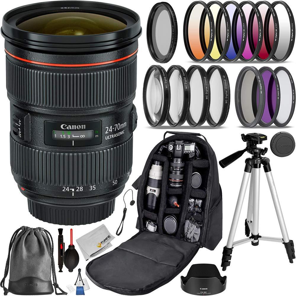 Canon EF 24-70mm f/2.8L II USM (#5175B002 USA) Advanced Bundle- Includes: 3pcs (UV, CPL, N-FLD) Filter Kit, 4pcs Close-up Fliter, 6pcs Graduated Color Filter Set and More by Canon