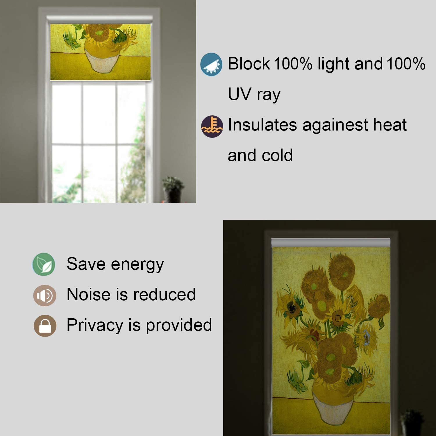 Blackout Window Shades SEA-5 Premium UV Protection Water Proof Custom Roller Blinds Printed Picture Window Roller Shade,30 W x 36 L