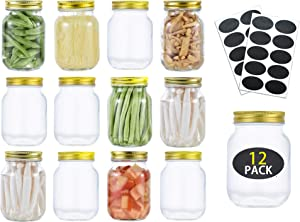Mason Jars 16 oz Glass Jars with Lids 1 Pint Canning Jars For Meal Prep, Food Storage, Canning Jars for Drinking, Overnight Oats, Jelly, Dry Food, Spices, Salads, Yogurt- 12 Pack Gold