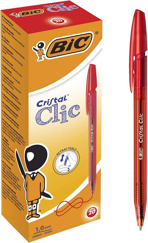 BiC - Caja de 20 Bolígrafos Bic Cristal clic color rojo: Amazon.es ...