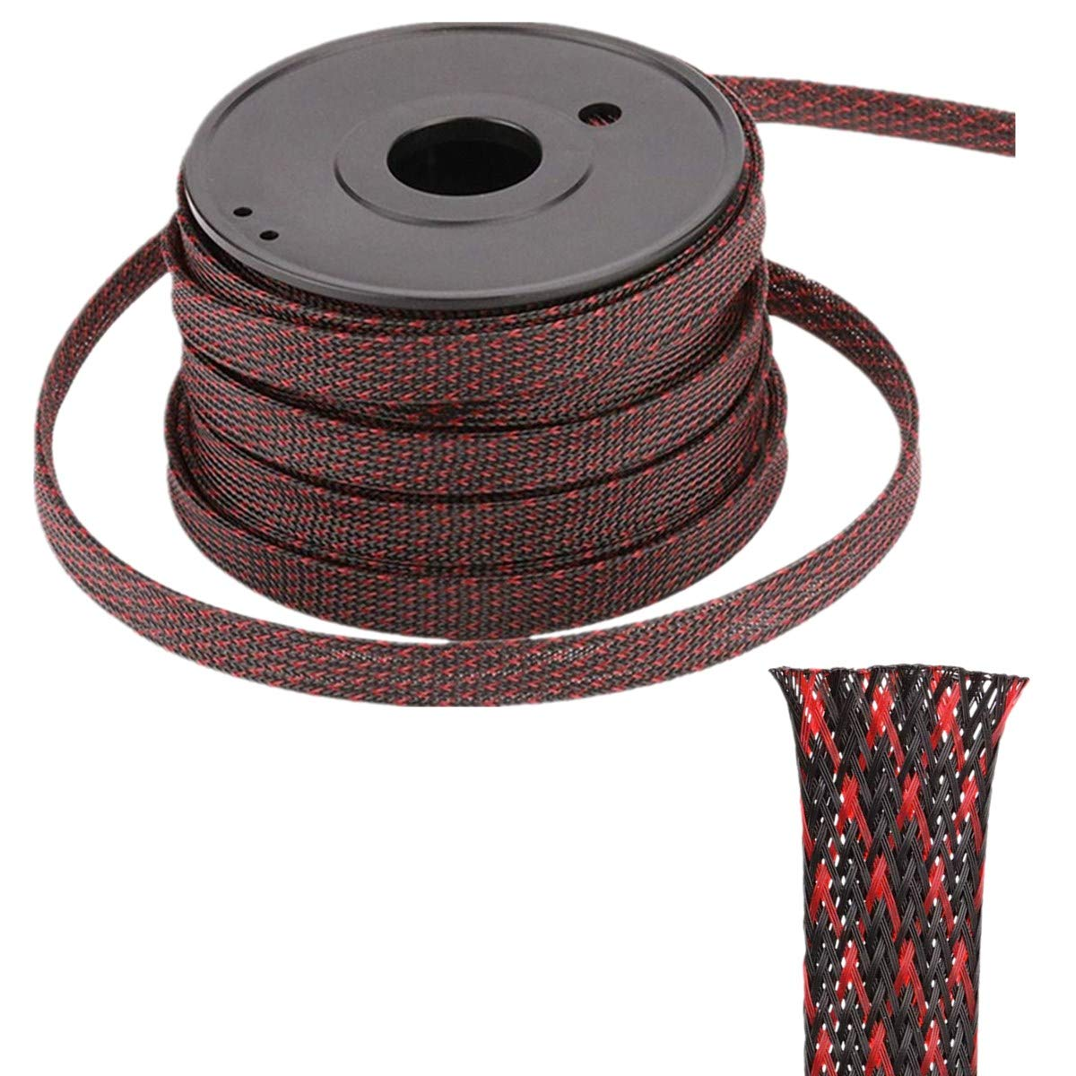 Audio Premium Wires Sleeving Management and Organizer and Other Home or Office Device Cords-Red/&Black Protector for TV 100ft-1//2 inch Flexible PET Expandable Braided Cable Sleeve PC