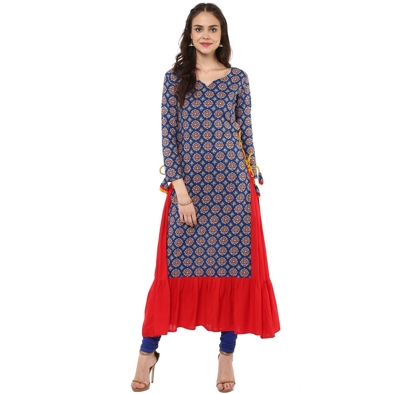 Indian Virasat Women's Festive Wear Full Length Ethnic Anarkali Large Blue Tunic Kurti