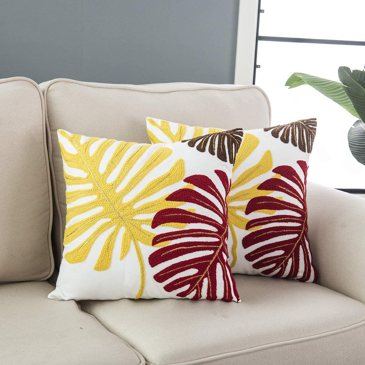 Taisier Home 2 Embroidered Tropical Leaf Pattern Throw Pillow Covers Decorative Pillowcase 18X18 Inches,Multicoloured