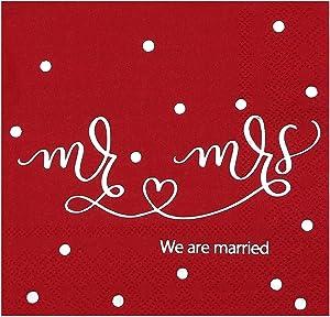 Wedding Napkins Burgundy Silver Foil, 100 PCS/Pack, Mr and Mrs Cocktail Napkins for Bridal Shower Decoration, Disposable Beverage Napkins for Wedding Table Decor Supplies, 3- Ply, Gexolenu