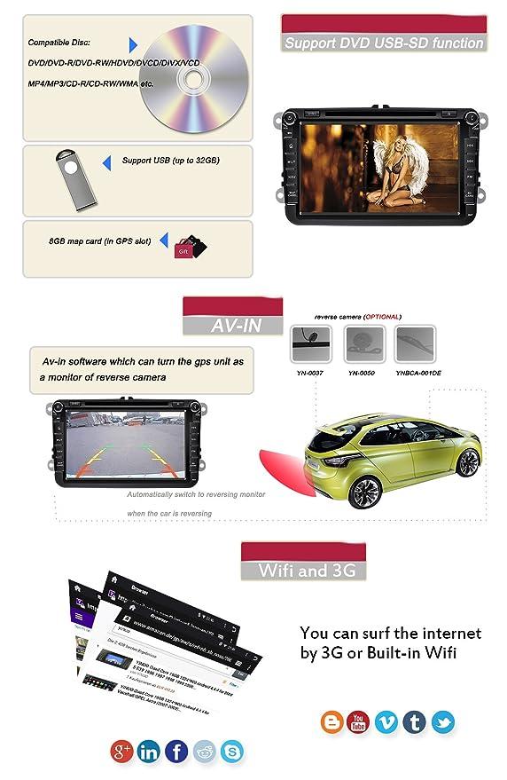 YINUO 8 Pulgadas 2 Din In Dash Android 5.1.1 Lollipop Quad Core Pantalla Táctil Reproductor De DVD GPS Navegador Radio De Coche Para VW Soporte Control Del ...