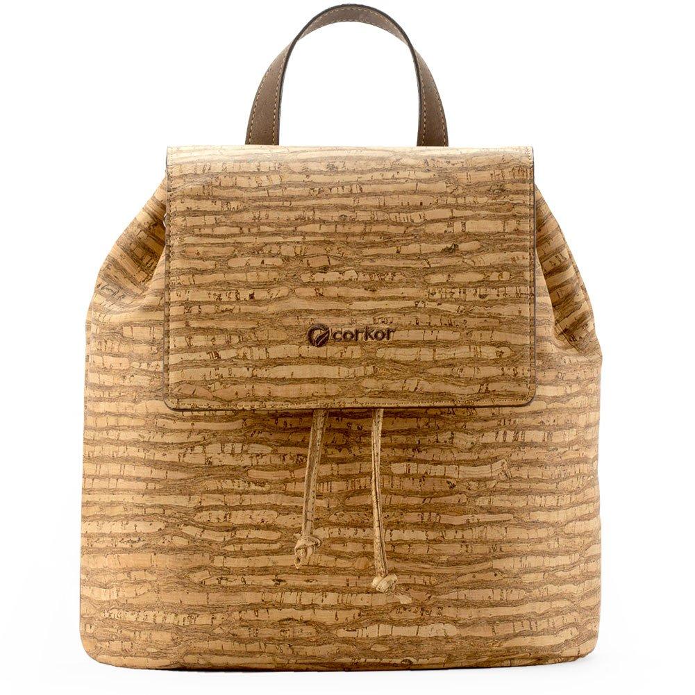 Corkor Cork Backpack - Vegan Handbag For Women Top Flap Back Pack Travel School Natural Zebra