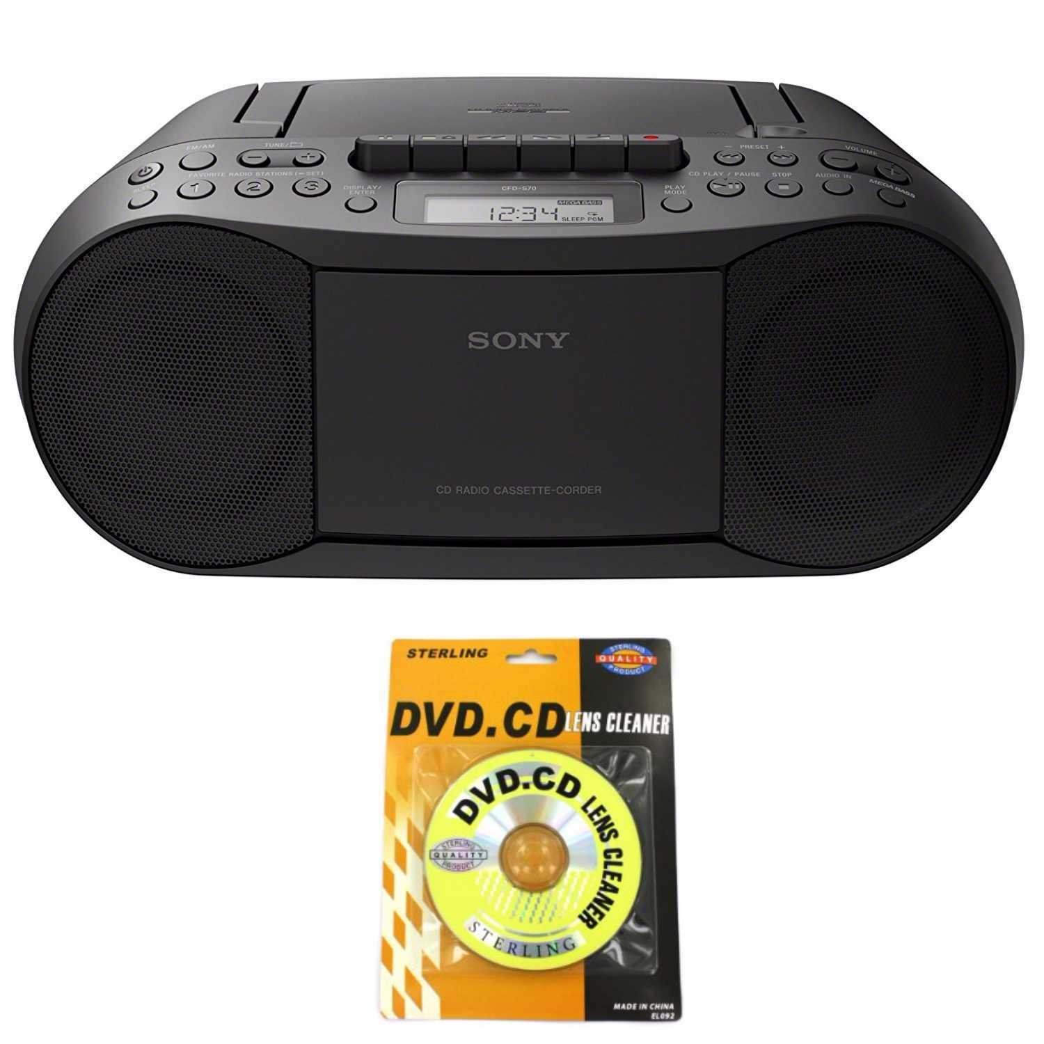 Sony Portable Full Range Stereo Boombox Sound System with MP3 CD Player, AM/FM Radio, 30 Presets, Headphone and AUX Jack - Bonus DB Sonic CD Head Cleaner