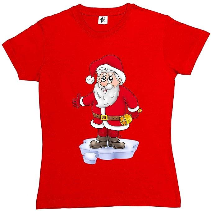 De Papá Noel Llamando a Campanas de Navidad para Mujer Camiseta de Manga Corta de algodón para T-Shirt - Tallas XS S M L y XL 2 X L, 8 10 12 14 16 18: ...