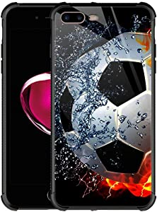 iPhone 8 Plus Case,9H Tempered Glass iPhone 7 Plus Cases for Men Boys,Sizzling Soccer Case Mate Pattern Design Shockproof Anti-Scratch Glass Case for Apple iPhone 7/8 Plus