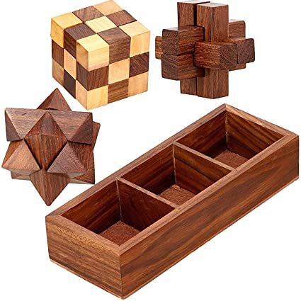 SKAVIJ Handmade Wooden 3-in-1 Puzzle Set with Storage Tray (Brown)