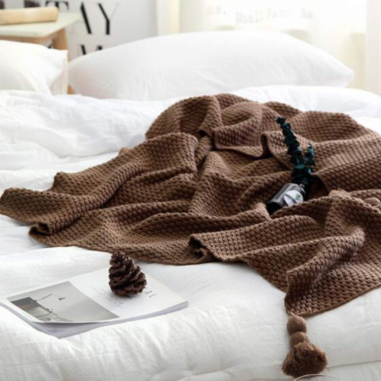 北欧スタイルツイスト毛布タッセルライン毛布レジャー毛布ソファエアコンショールアメリカの太い針織りニット毛布 B07MW5DZR5 Brown