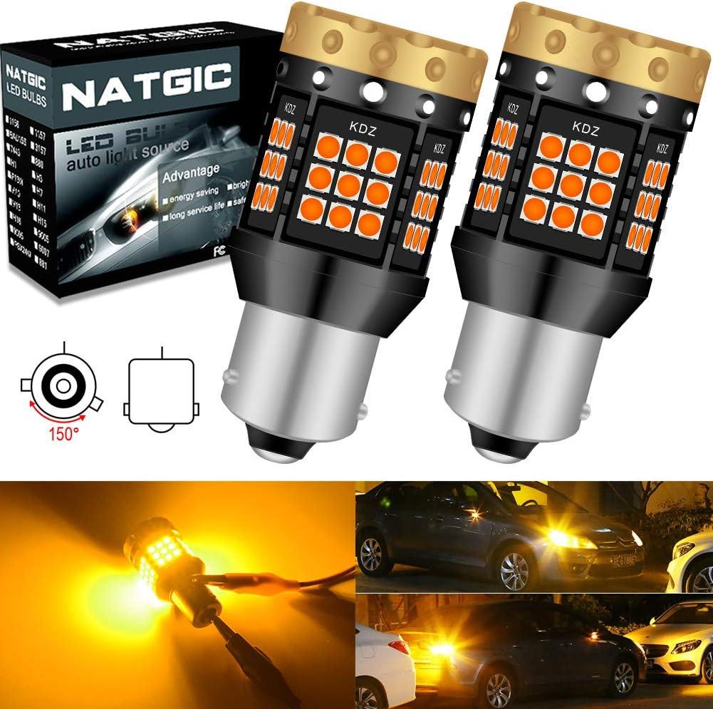 Ampoules Clignotants LED Ambre Jaune Orange 3700LM 3030 45 SMD Canbus Sans Erreur Anti-Hyper Flash pour Clignotants LED Avant ou Arri/ère de Voiture NATGIC BAU15S PY21W Pack de 2 150 /°