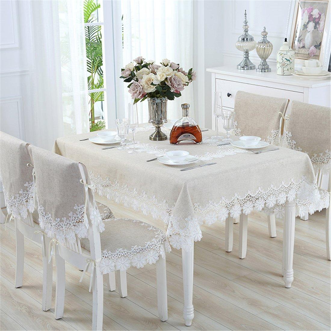 taixiuhome Beige lino y algodón encaje Comedor Mantel de banquete boda fiesta decoración para el hogar funda para mesa, algodón mixto, beige, 24x24 inch (60x60cm)