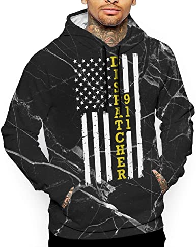 Ou50IL@WY Men 911 Dispatcher Thin Gold Line Flag Hooded Fleece Warm Cotton Outwear with Pocket for Men