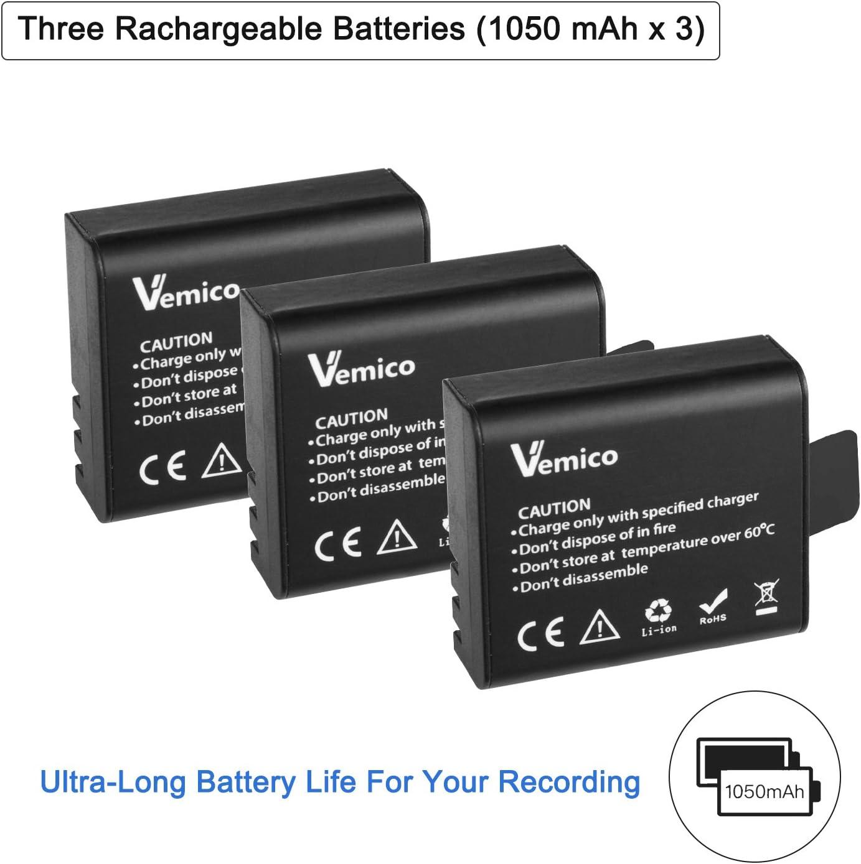 Amazon.com: vemico 3 x 1050 mAh recargable cámara de acción ...