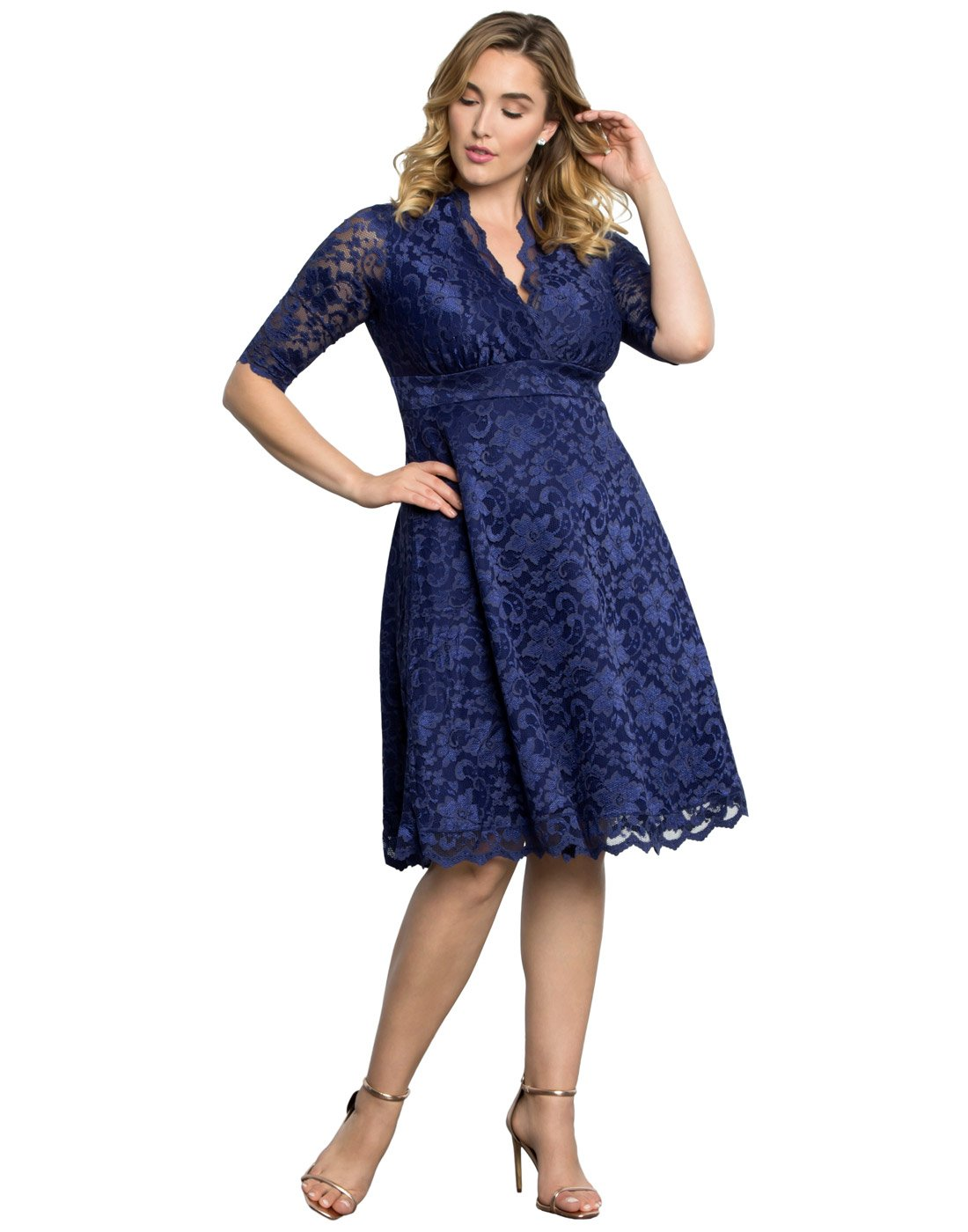 Kiyonna Women's Plus Size Mademoiselle Lace Dress 0X Sapphire Blue by Kiyonna Clothing