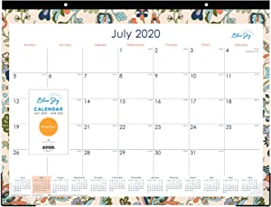 """Blue Sky 2020-2021 Academic Year Monthly Desk Pad Calendar, Trim Tape Binding, Two-Hole Punched, 22"""" x 17"""", Fab Floral"""