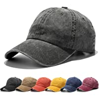 Vankerful Unisex Washed Dyed Cotton Adjustable Solid Baseball Cap