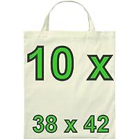 10 Baumwolltasche zwei kurze Henkel 38 x 42 cm natur [Textilien]