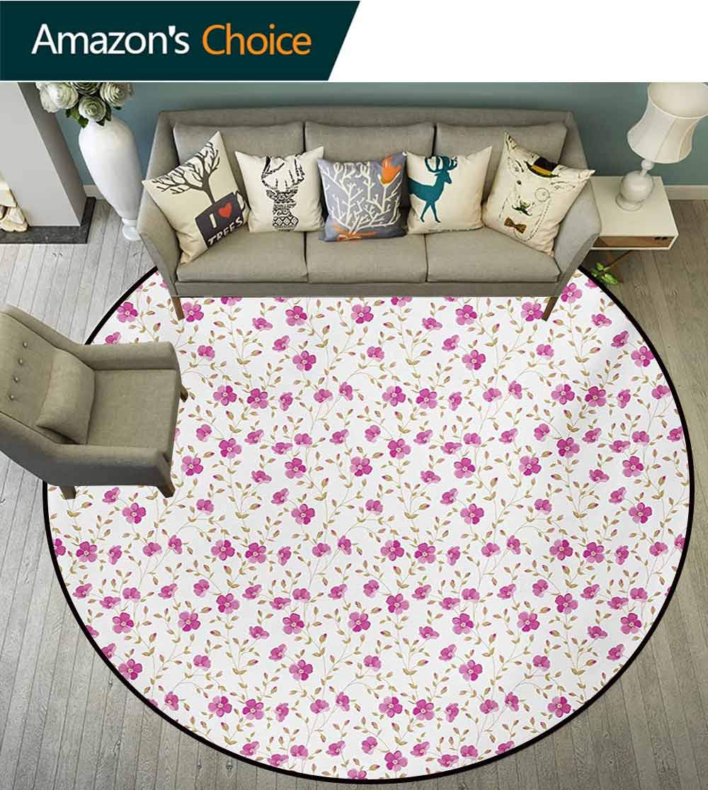 RUGSMAT Flower Modern Machine Washable Round Bath Mat,Peony in Vintage Style Girly Sweet Curly Stems Happy Times Engagement Theme Non-Slip Soft Floor Mat Home Decor,Round-47 Inch Pink Reseda Green