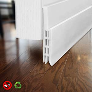 "BAINING Door Draft Stopper Door Sweep for Exterior/Interior Doors, Weatherproofing Door Seal Strip Under Door Draft Blocker Seal, Soundproof Door Bottom Weather Stripping, 2"" W x 39"" L, White"