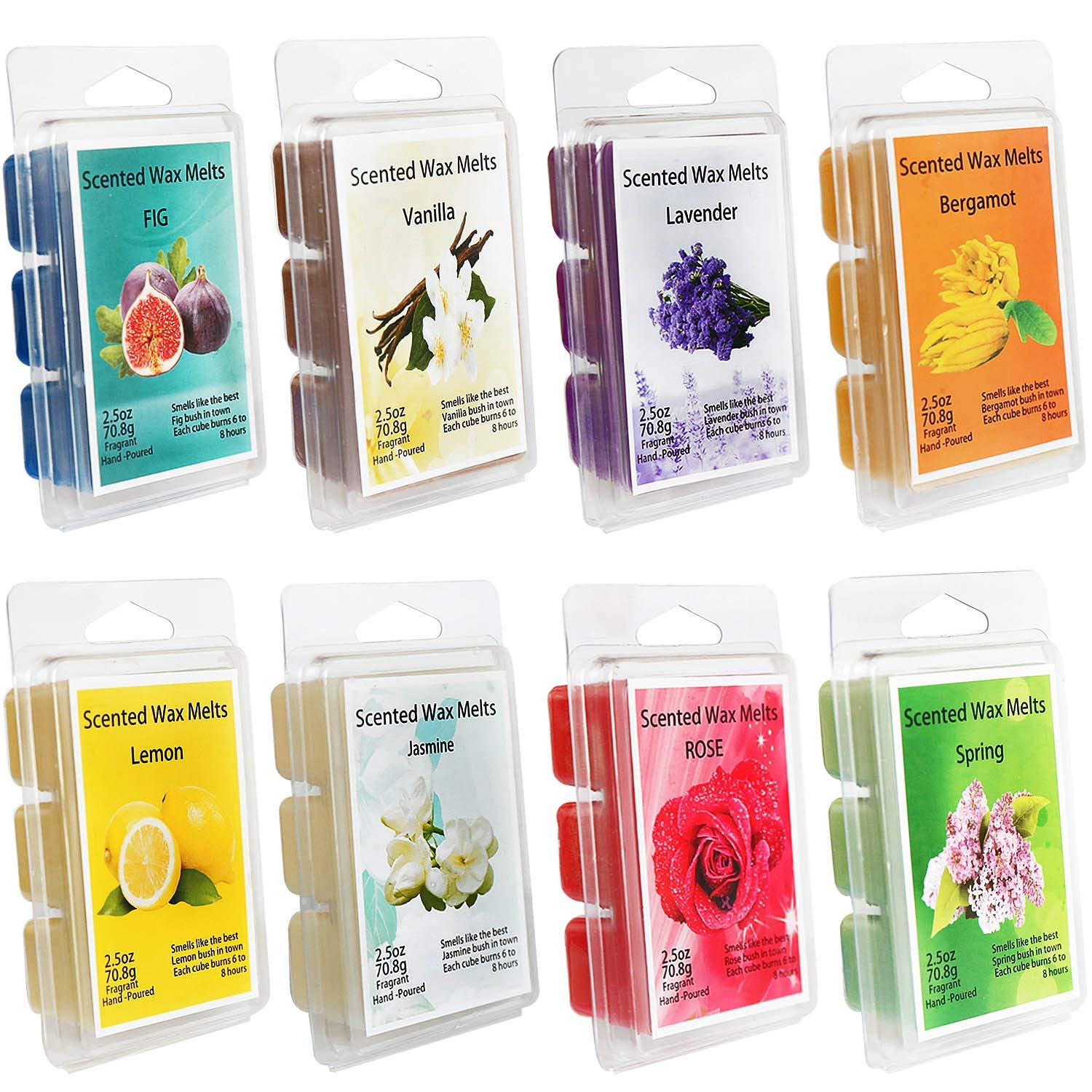 Howemon Scented Wax Melts -Set of 8 (2.5 oz) Assorted Wax Warmer Cubes/Tarts - Lemon, Fig, Lavender, Spring Fresh,Rose ,Jasmine,Vanilla,Bergamot