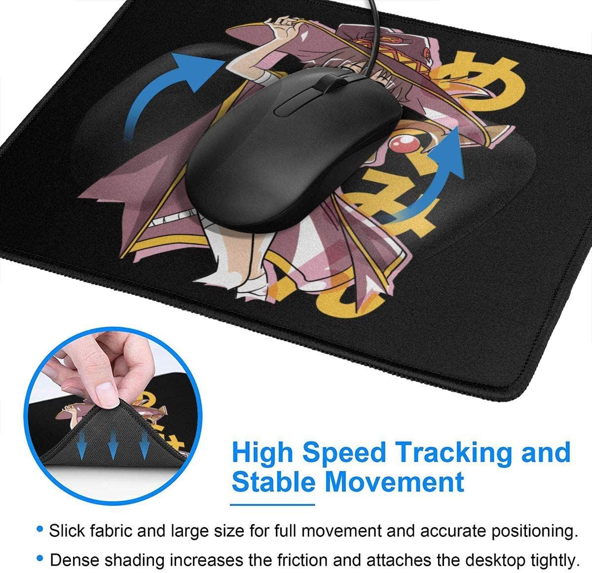 Design Mouse Pad Anti Slip Anime Konosuba Cute Megumin Gaming Mouse Pad with Stitched Edge Computer PC Mousepad Rubber Base for Office Home