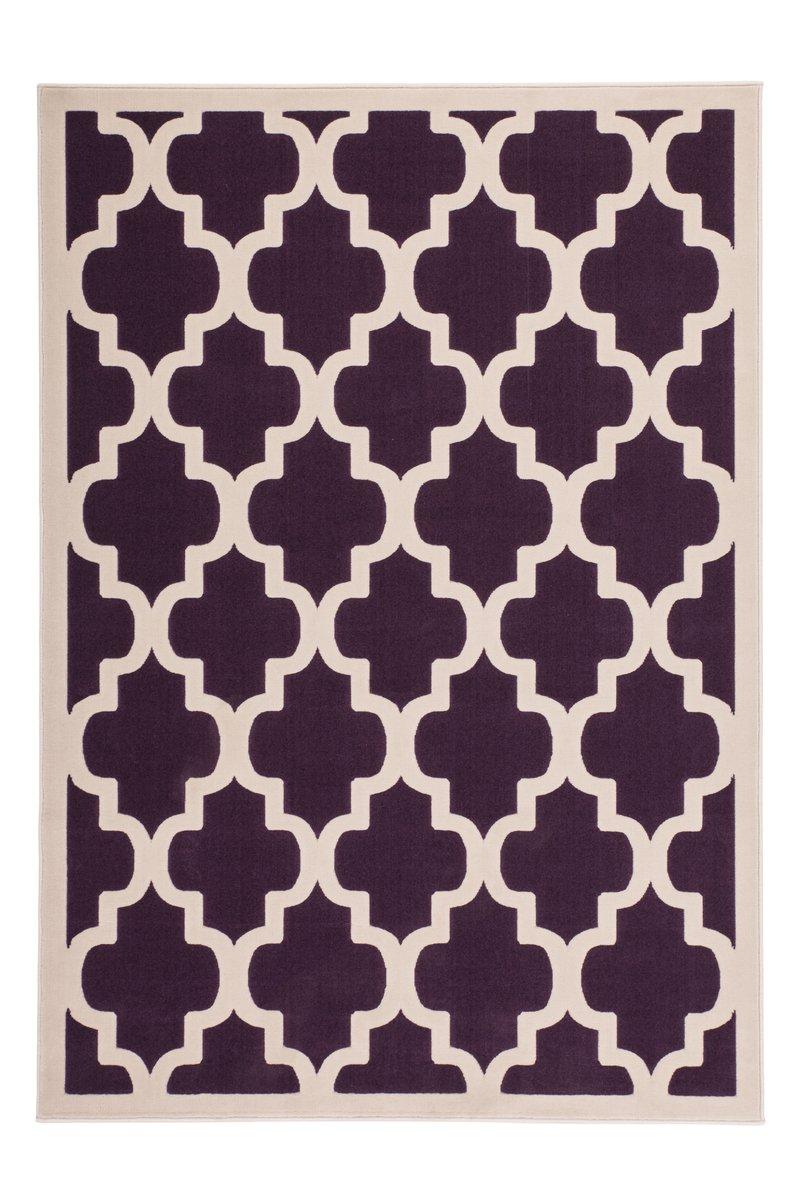 Lalee Teppich Wohnzimmer modern Carpet geometrisches Design Rug Manolya 2097 Lila 160x230cm   Teppiche günstig online kaufen
