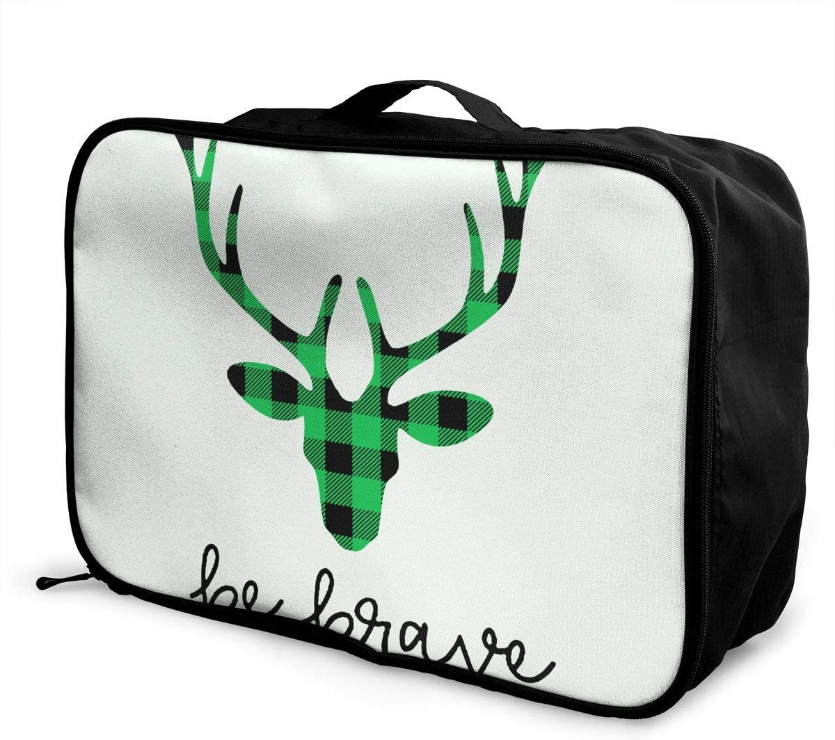 Green And Black Buffalo Plaid Moose Travel Carry-on Luggage Weekender Bag Overnight Tote Flight Duffel In Trolley Handle