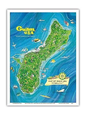 Amazoncom Map Of Guam USA Where Americas Day Begins - Guam map