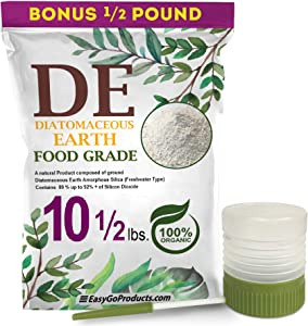 Natural 100% Food Grade Diatomaceous Earth - DE Fresh Water - 10 Pounds- With Powder Duster