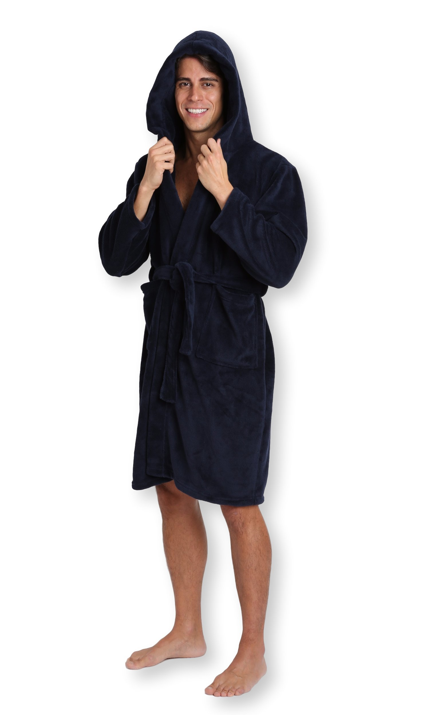 Pembrook Men's Robe with Hood – Navy - Size L/XL - Soft Fleece – Hotel Spa Bathrobe
