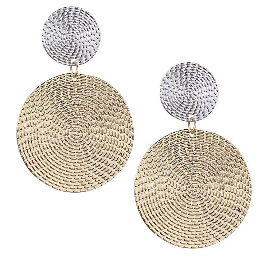 FEIDAjdzf Frauen übertriebener geometrischer runder Anhänger konvexer Ohrring Schmuck – goldfarben