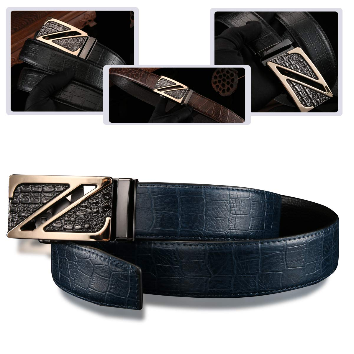 Youngate Mens Genuine Leather Dress Belt Reversible with Buckle