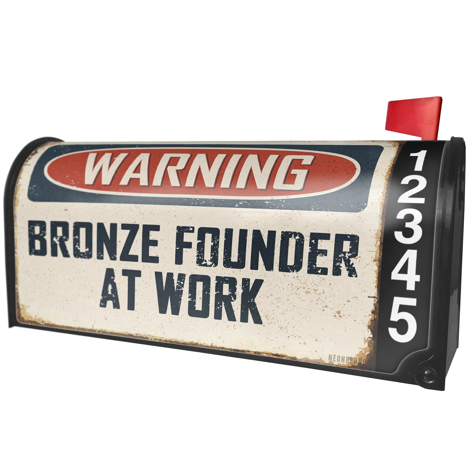 NEONBLOND Warning Bronze Founder At Work Vintage Fun Job Sign Magnetic Mailbox Cover Custom Numbers