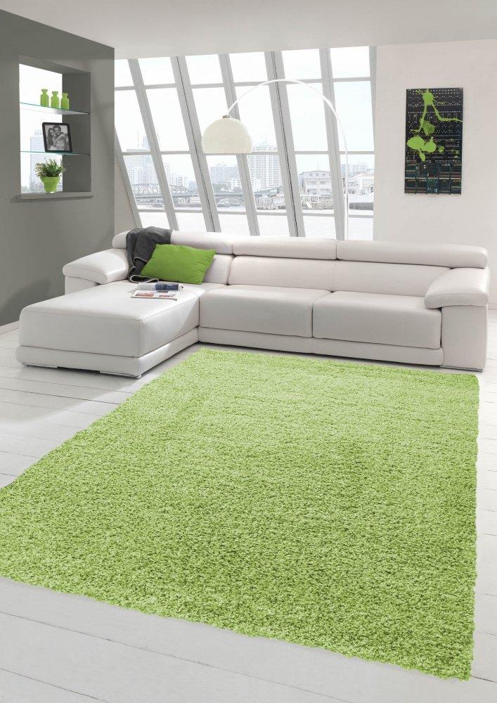 Merinos Merinos Merinos Shaggy Teppich Hochflor Langflor Teppich in Uni Design Grün Größe 140x200 cm 0c27e3