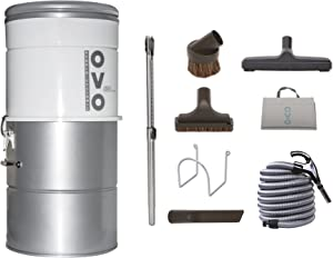 OVO Large Capacity Hybrid 630 Airwatts System Power Unit with Deluxe Accessory Kit Included Central Vacuum Cleaner, Vac, sliver - PAK63D