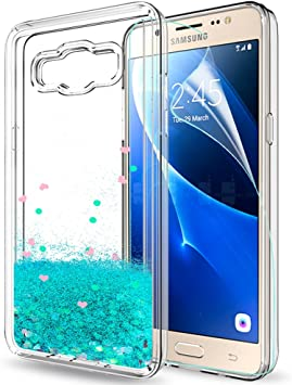 LeYi Funda Samsung Galaxy J5 2016 Silicona Purpurina Carcasa con HD Protectores de Pantalla,Transparente Cristal Bumper Telefono Gel TPU Fundas Case Cover para Movil Galaxy J5 2016 ZX Turquoise: Amazon.es: Electrónica