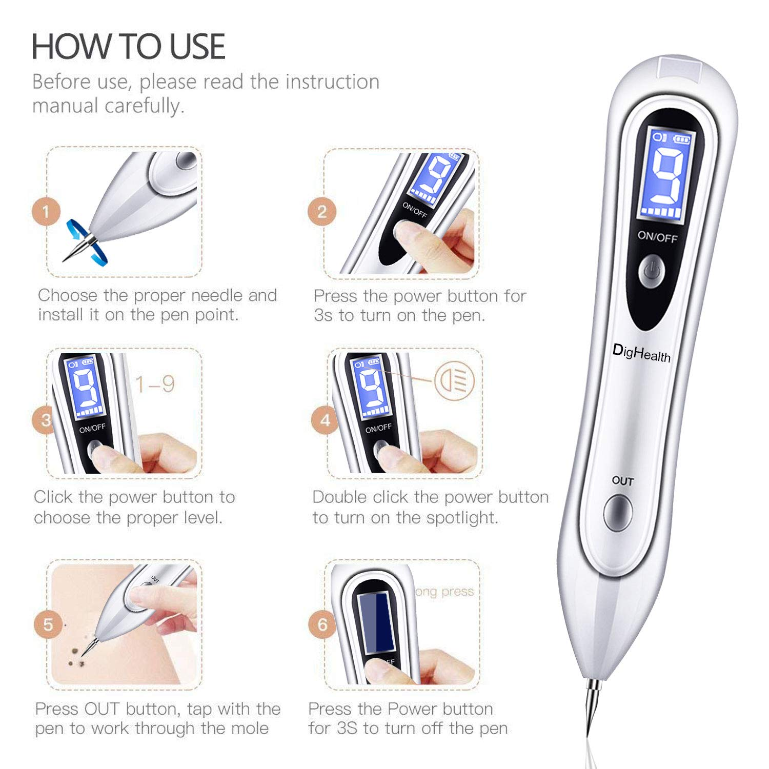 Dighealth Skin Tag Removal Pen With Uv Led Fda Approved Mole